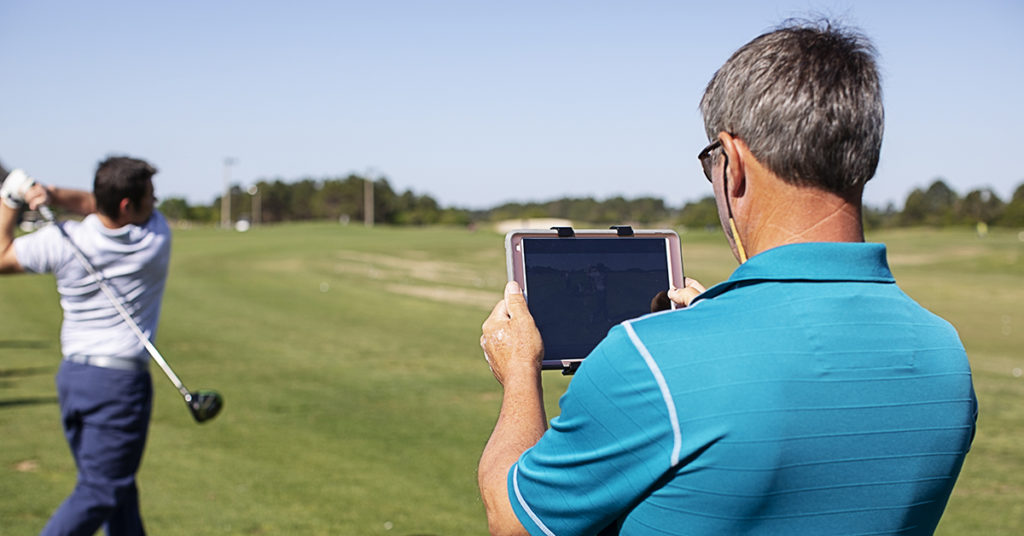 Golf school training with an Ipad